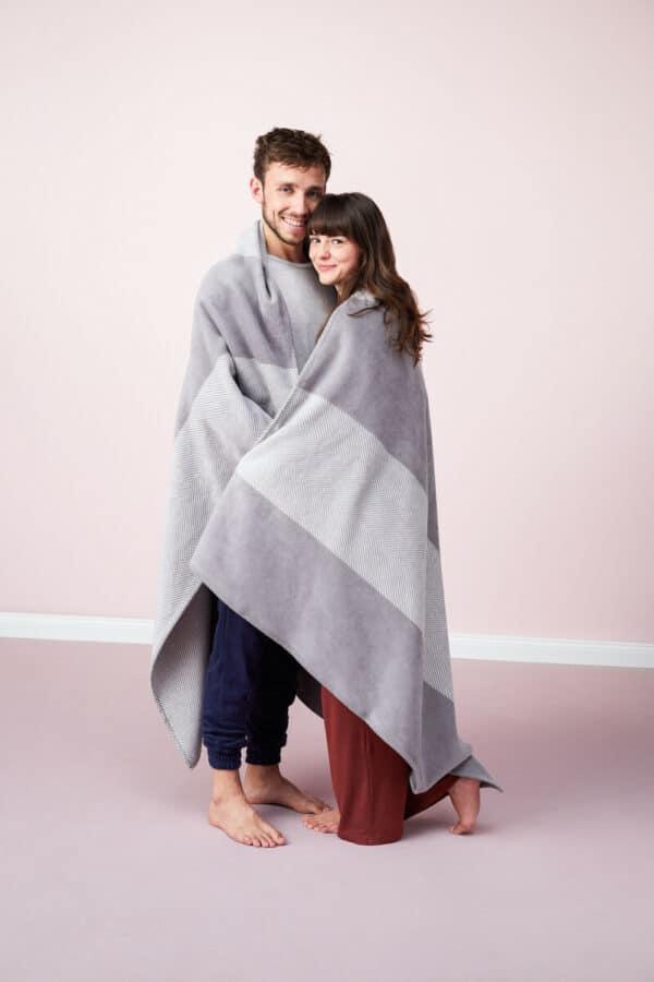 Kushel Decke Stripy Grey Mit Holzfasern - Umweltfreundlich 1